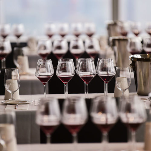 Pinot Talks NYC wine glasses lined up for the event