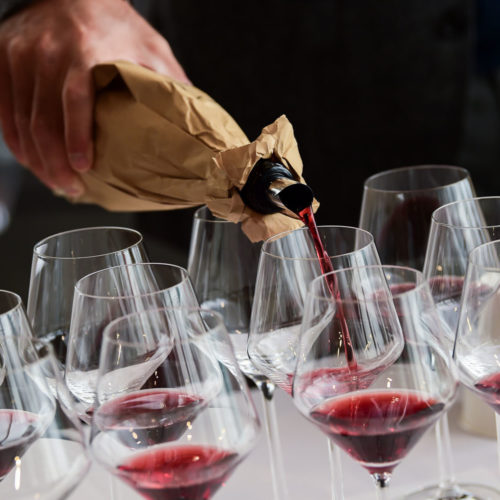 Pouring wine for the event